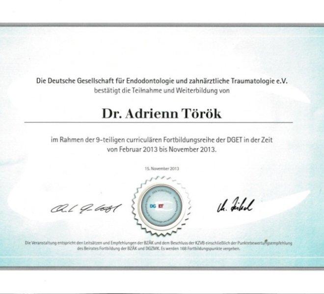 Dr. Török Adrienn, mikroszkópos gyökérkezelés 6 oklevél
